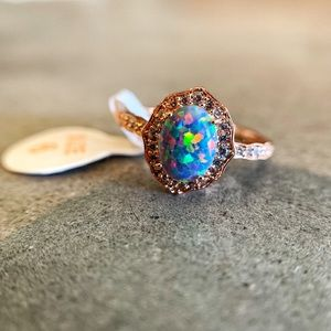 Ornate RoseGold Plated, Baby Blue Fire Opal.